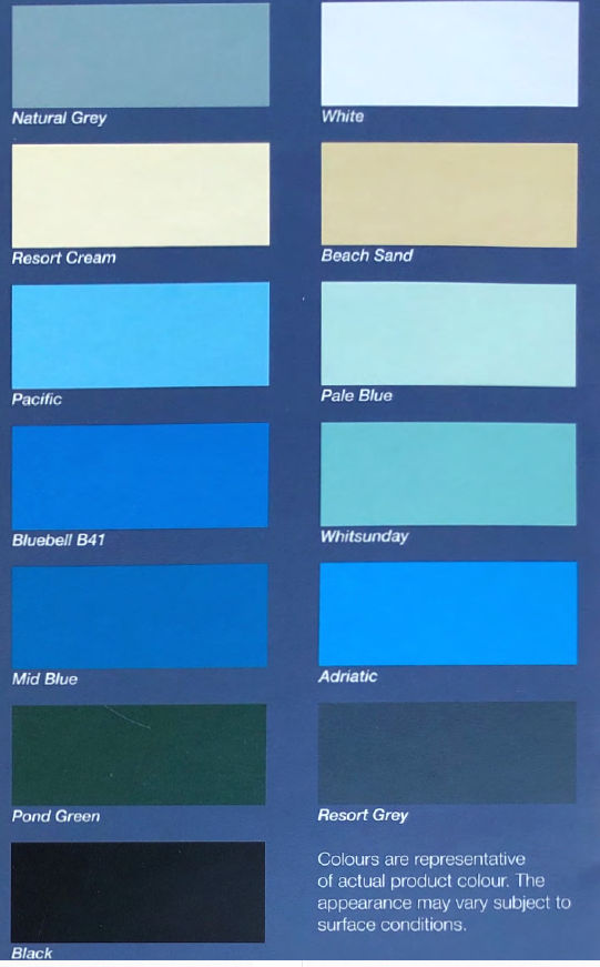 Nupool paint colours