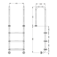 3 Step Stainless Steel Pool Ladder with narrow surrounds Model LU