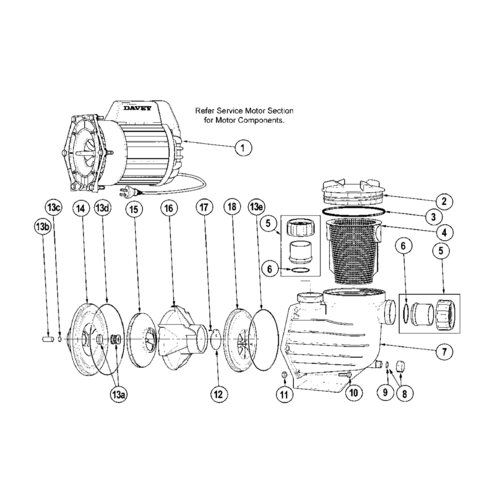 Davey Power Master Pool Pump Spare Parts [Power Master Parts: ITEM # 1 - Motor (PM200, PM250, PM350)]